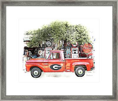 Georgia Bulldogs Vintage Fan Art Print Framed Print by Dwayne  Graham