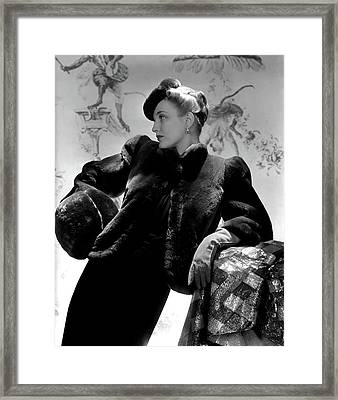 Georgia Carroll Wearing A Cropped Jacket Framed Print by Horst P. Horst