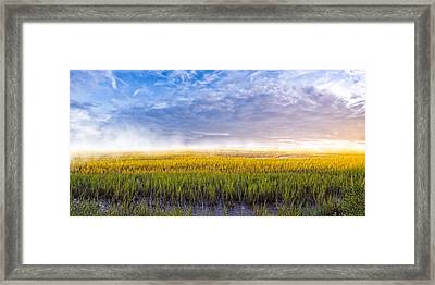 Georgia Coastal Marshes - Sunrise Panorama Framed Print by Mark E Tisdale