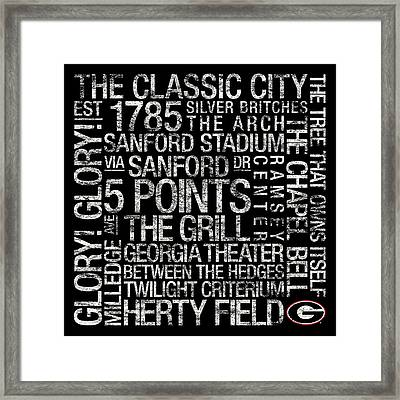 Georgia College Colors Subway Art Framed Print by Replay Photos