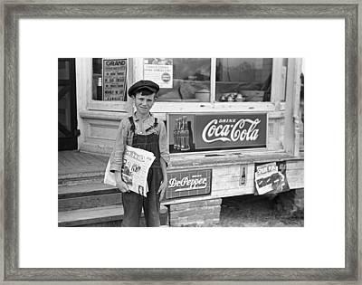 Georgia Newsboy, 1938 Framed Print by Granger