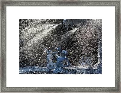 Georgia, Savannah, Fountain In Forsyth Framed Print by Walter Bibikow