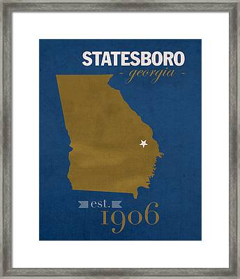 Georgia Southern University Eagles Statesboro College Town State Map Poster Series No 041 Framed Print by Design Turnpike