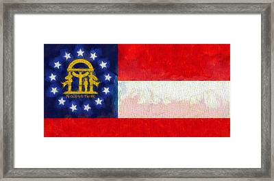 Georgia State Flag On Canvas Framed Print