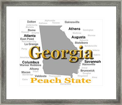 Georgia State Pride Map Silhouette  Framed Print by Keith Webber Jr
