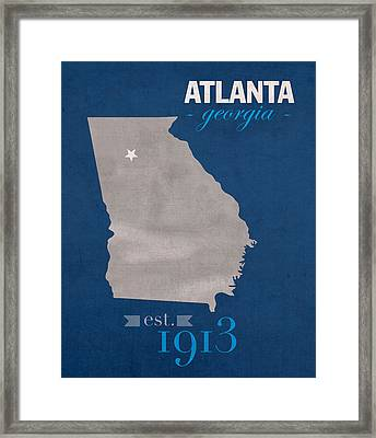 Georgia State University Panthers Atlanta College Town State Map Poster Series No 042 Framed Print by Design Turnpike