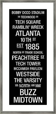 Georgia Tech College Town Wall Art Framed Print by Replay Photos