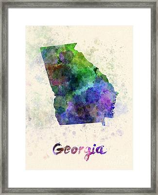 Georgia Us State In Watercolor Framed Print by Pablo Romero
