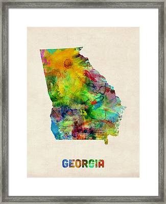 Georgia Watercolor Map Framed Print by Michael Tompsett