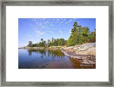 Georgian Bay Rock Island Framed Print by Charline Xia