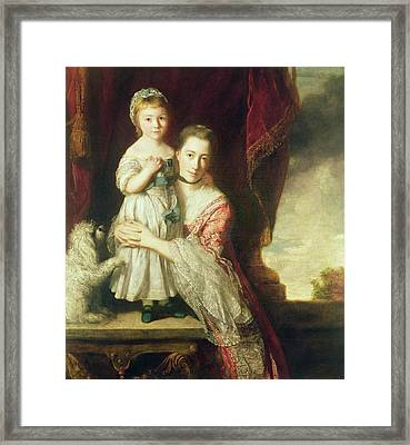 Georgiana, Countess Spencer With Lady Georgiana Spencer, 1759-61 Oil On Canvas Framed Print