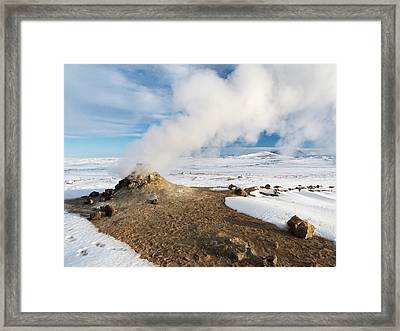 Geothermal Area Hverarond With Mudpots Framed Print