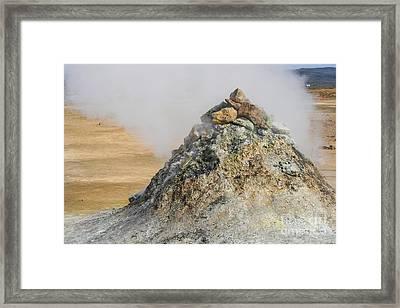 Geothermal Pile Of Sulphuric Rock  Framed Print