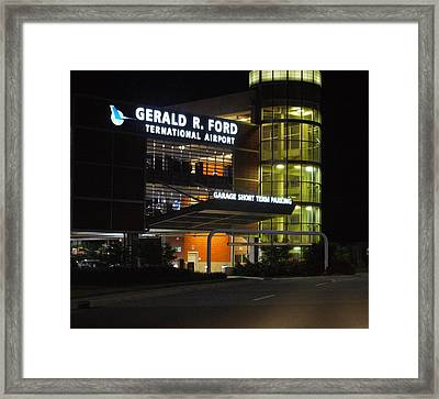 Gerald R Ford Airport In The Black Of Night Framed Print by Rosemarie E Seppala