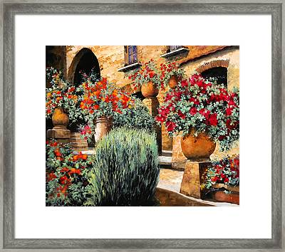 Gerani Sulle Scale Framed Print by Guido Borelli