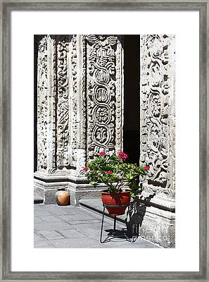 Geraniums And Stone Carvings Framed Print