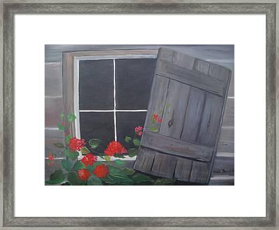Geraniums At Log Cabin Framed Print by Glenda Barrett