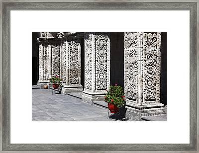 Geraniums In Compania De Jesus Cloisters Framed Print
