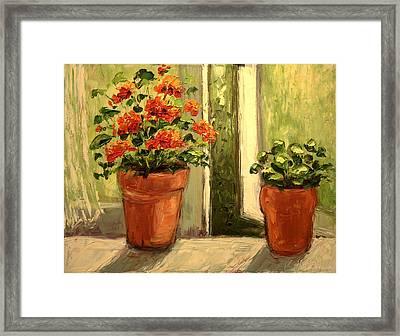 Geraniums In The Window Paint Along With Nancy Pbs Framed Print by    Michaelalonzo   Kominsky