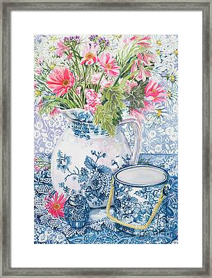 Gerberas In A Coalport Jug With Blue Pots Framed Print by Joan Thewsey