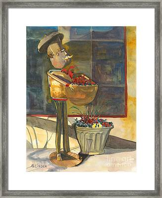 Framed Print featuring the painting Gere-a-delis Brass Chef by Sandy Linden