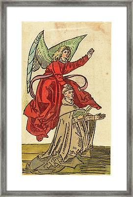 German 15th Century, A Monk With An Angel, 1480-1490 Framed Print