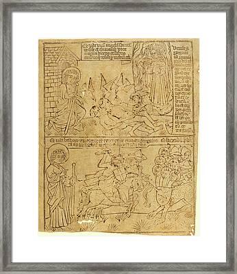 German 15th Century, Apocalypse Of John, Leaf 10 Framed Print