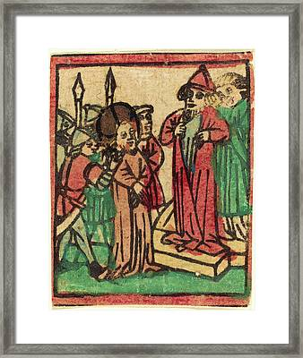 German 15th Century, Caiaphas Tearing His Clothes, Probably Framed Print