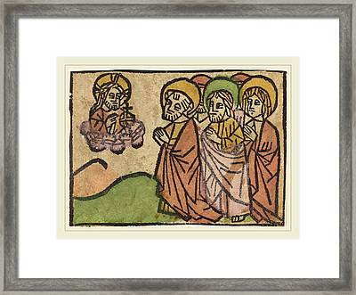 German 15th Century, Christ Appearing To The Apostles Framed Print