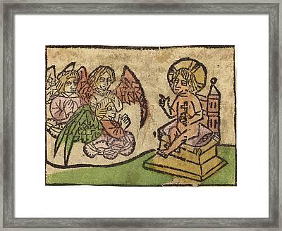 German 15th Century, Christ Child With Three Angels Framed Print