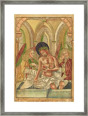 German 15th Century, Christ In The Tomb With Two Angels Framed Print