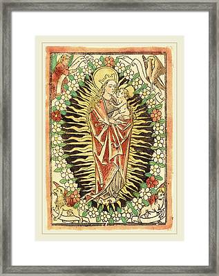 German 15th Century, Madonna And Child In A Rosary Framed Print by Litz Collection