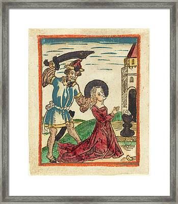 German 15th Century, Martyrdom Of Saint Barbara, 1480-1490 Framed Print by Quint Lox