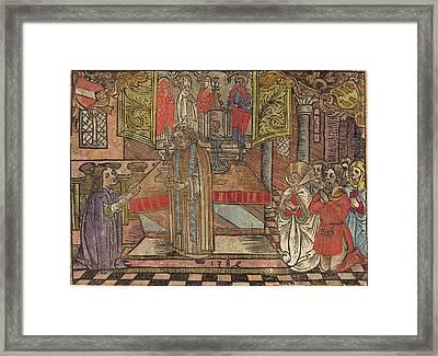 German 15th Century, Miracle At Seefeld, 1484, Woodcut Framed Print