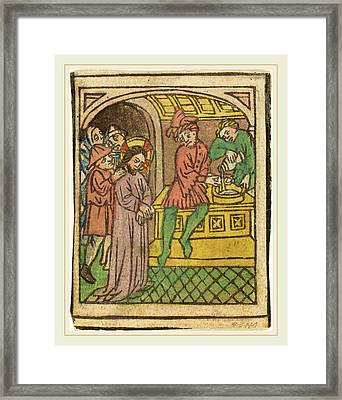 German 15th Century, Pilate Washing His Hands Recto Framed Print