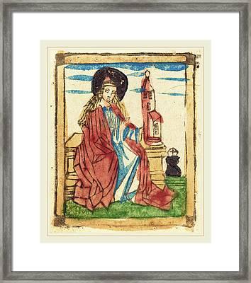 German 15th Century, Saint Barbara, 1460-1470, Woodcut Framed Print by Litz Collection