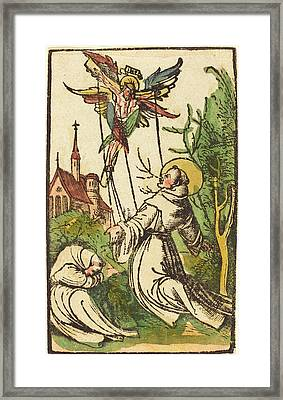 German 15th Century, Saint Francis Receiving The Stigmata Framed Print