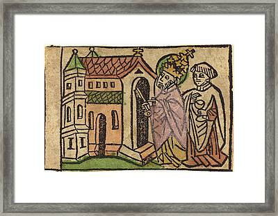 German 15th Century, Saint Peter As Founder Of The Church Framed Print by Quint Lox