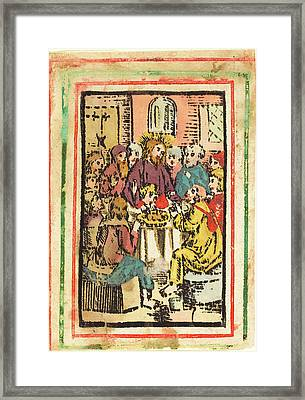 German 15th Century, The Last Supper, C. 1480-1500 Framed Print