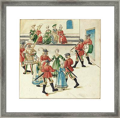 German 16th Century, Three Couples In A Circle Dance Framed Print