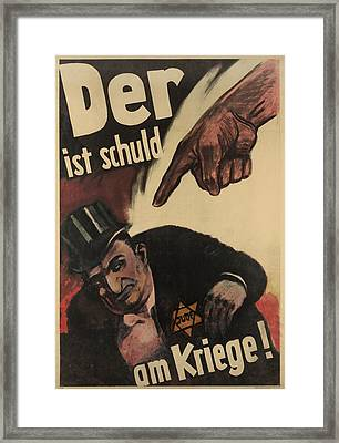 German Anti-semitic Poster. Der Ist Framed Print