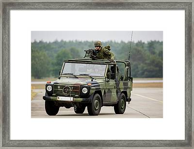 German Army Paratroopers In A  Jeep Framed Print