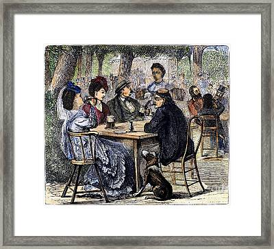 German Beer Garden, 1870 Framed Print