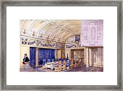 German Dining Hall, Early 20th Century Framed Print