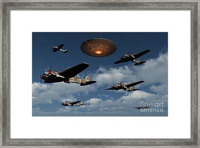 German Heinkel Bombers Being Buzzed Framed Print by Mark Stevenson