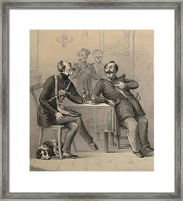 German Military Drinking A Glass Of Wine Framed Print by German School