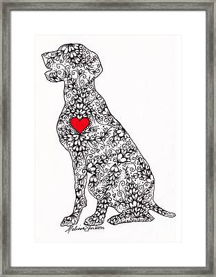Framed Print featuring the drawing German Pointer by Melissa Sherbon