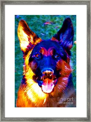 German Shepard - Electric Framed Print by Wingsdomain Art and Photography