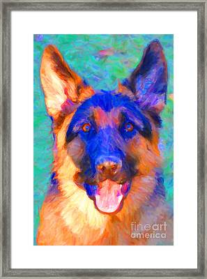 German Shepard - Painterly Framed Print by Wingsdomain Art and Photography