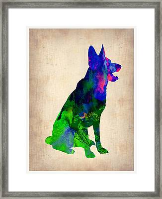 German Sheppard Watercolor Framed Print by Naxart Studio